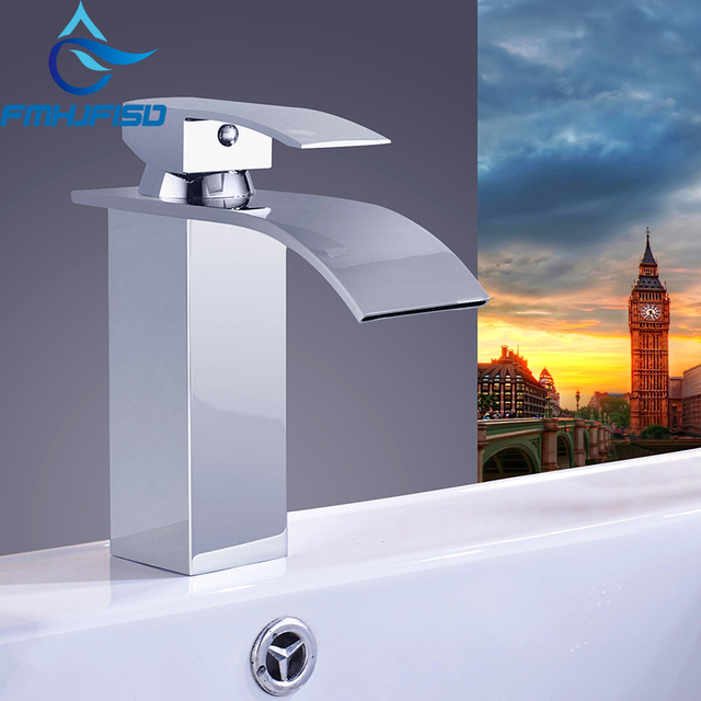 Free Shipping Wholesale And Retail Promotion Polished Chrome Brass Waterfall Bathroom Basin Faucet Square Vanity Sink Mixer Tap