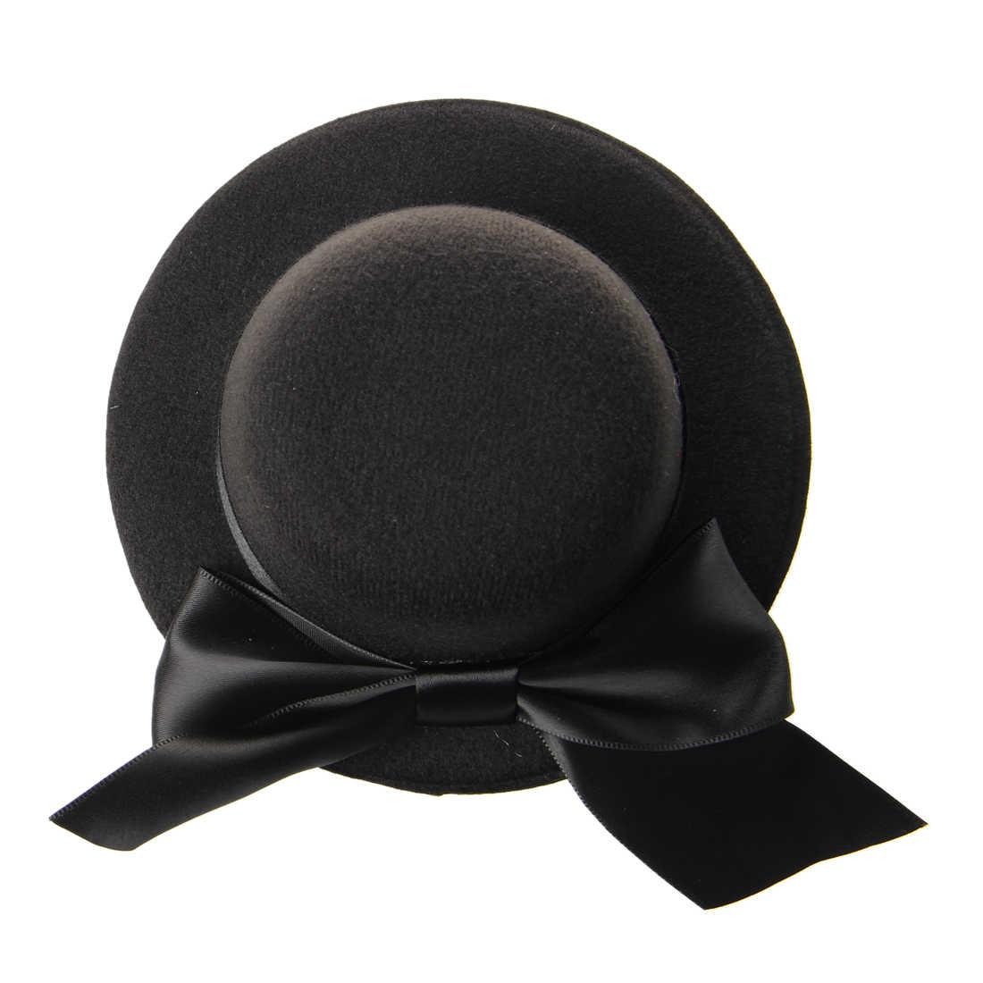 8359f3dc7 Ladies Mini Top Hat Fascinator Burlesque Millinery w/ Bowknot - Black