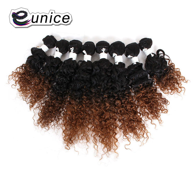 """EUNICE Hair For Women 8-14""""Mix Length Kinky Curly Hair Weaving Synthetic Bundles Natural Color #27/30/BUG Double Weft Extension"""