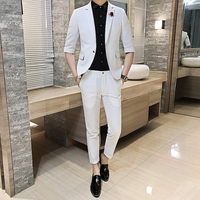 2018 Spring And Summer New Gentleman Five point Sleeve Suit Men's Business Casual Fashion Temperament British Style Wear