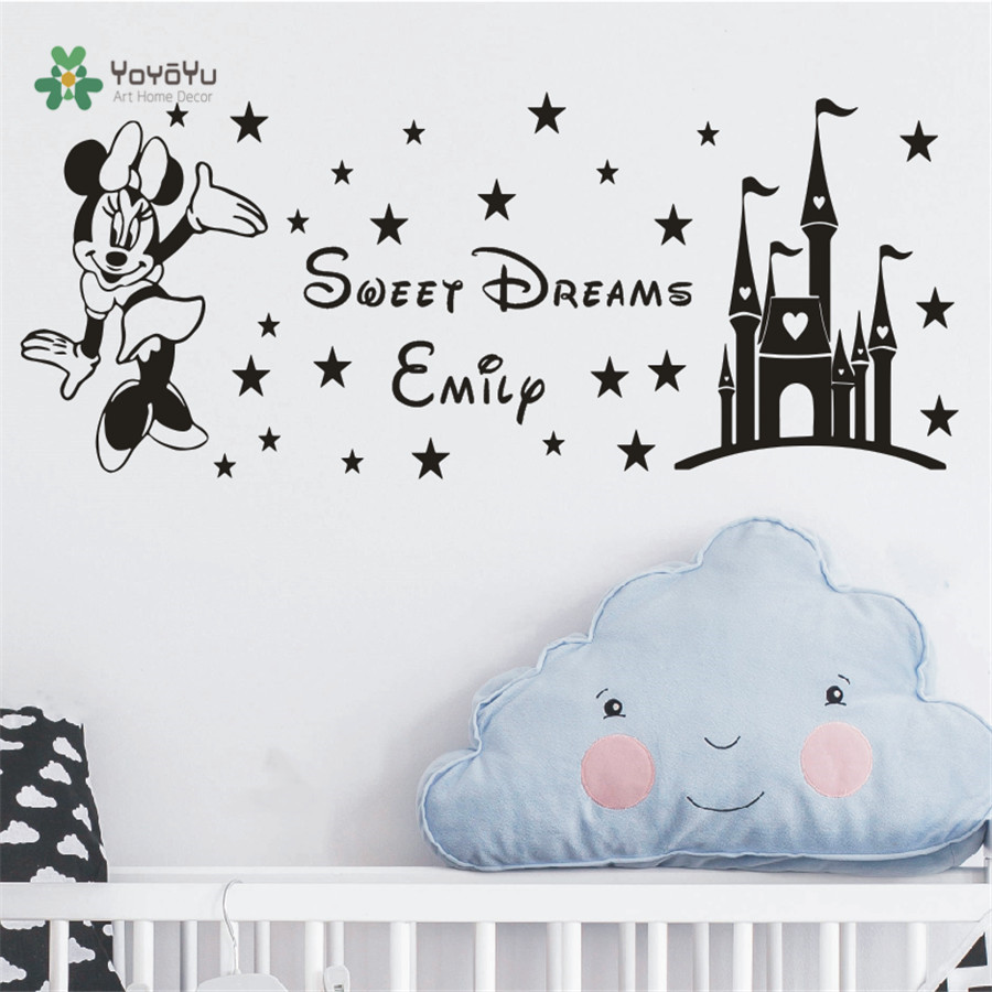 03c1ad286683c US $9.9 |Free Shipping Custom Name Kids Decal Sweet Dreams Princess Castle  Minnie Mouse Wall Stickers Baby Kids Name Art Decal KW 18-in Wall Stickers  ...