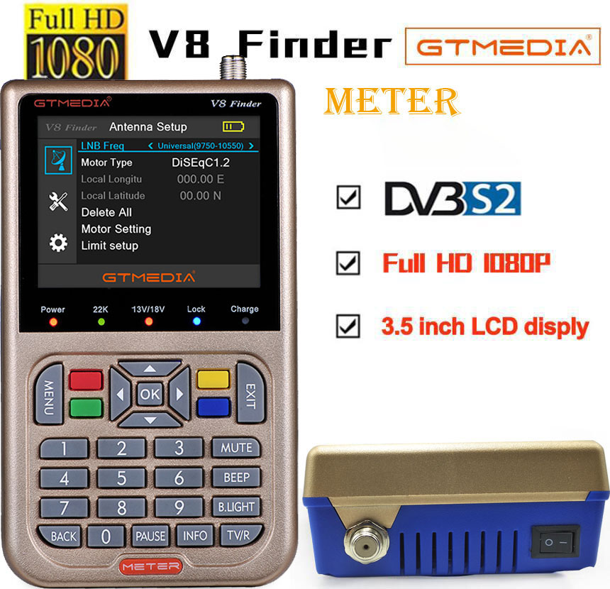 5pcs GTmedia V8 Finder HD DVB S2 High Definition Satellite Finder MPEG 2 MPEG 4 satlink