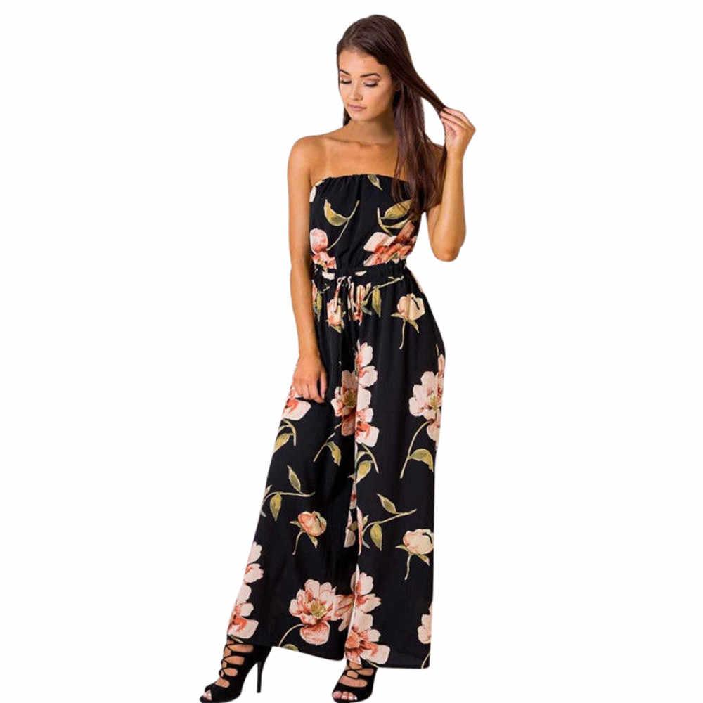 Новинка 2019 года для женщин летние пикантные с открытыми плечами цветочный Playsuit Дамы мягкие комбинезон Длинный брюк комбинезон #0720
