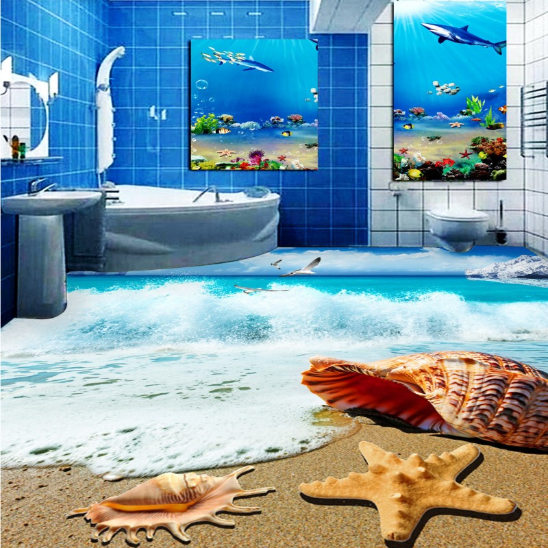 ФОТО Free Shipping Beach Seas Bathroom Bedroom 3D Floor thickened wear non-slip kitchen mall living room flooring wallpaper mural