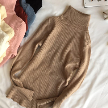 2021 Autumn Winter Thick Sweater Women Knitted Ribbed Pullover Sweater Long Sleeve Turtleneck Slim Jumper Soft Warm Pull Femme 4