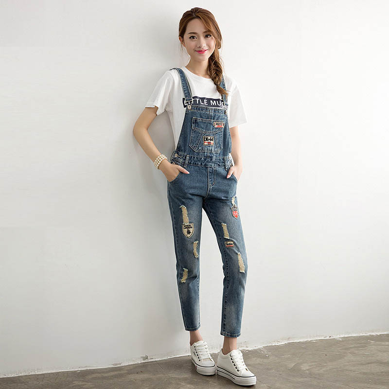 ФОТО Overalls Jeans Women 2016 New Casual Blue Denim Overalls Girls Ripped Jeans Pockets Suspenders Jeans Bib Trousers WYS11