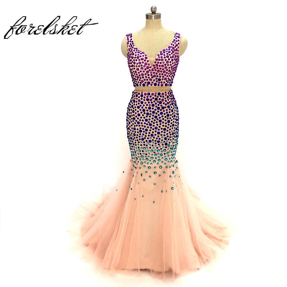 Two pieces mermaid Prom Dresses 2017 long evening dresses heavy beaded royal blue dresses formal party dress free shipping