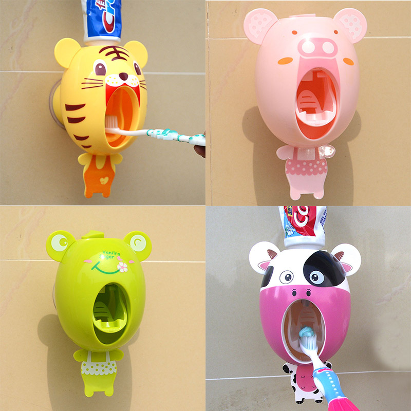 Cartoon Automatic Toothpaste Dispenser Wall Mount Stand Bathroom Sets Animals Design Kids-in