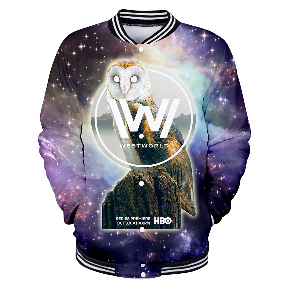 2018 New 3D WESTWORLD Design Fashion Baseball Jacket Men/Women Winter Coat Polyester Sweatshirt Hip Hop Plus Size Hoodies