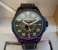 Safira 2017 nova moda st2557 parnis 45mm black dial gmt automatic self-vento relógio dos homens movimento mecânico relógios 148