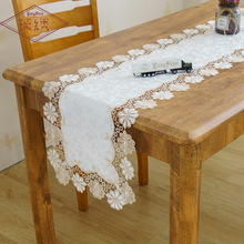 2019 New Hot Sale European Jacquard Fabric Lace Embroidery Tablecloth White Simple Home Table Cloth Cover Runner