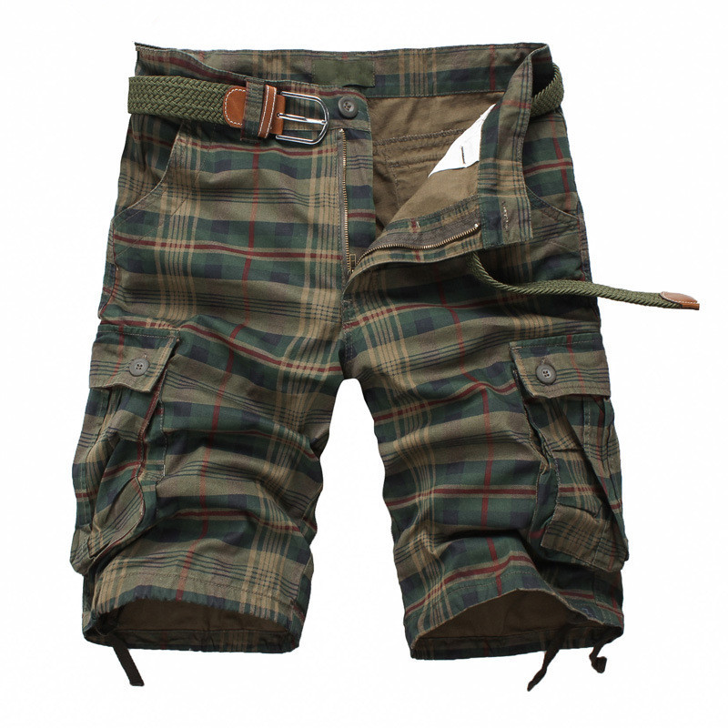 Men Shorts 2018 Fashion Plaid Beach Shorts Mens Casual Camo Camouflage Shorts Military Short Pants Male Bermuda Cargo Overalls