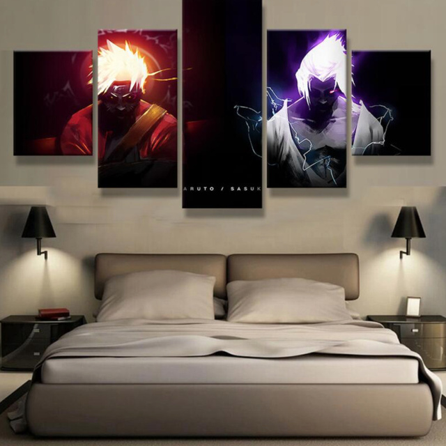 5 Panels Canvas Prints Naruto Vs Sasuke Canvas Painting