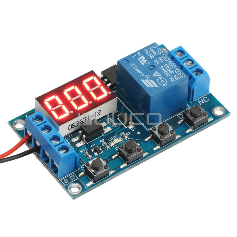 Relay Module 6~30V Multifunction 1 Channel Relay  Delay -Off On-Off/Trigger Delay/Cycle timing Circuit Switch DC 12V 24V Switch 12v timing delay relay module cycle timer digital led dual display 0 999 hours