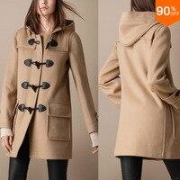 Холодной Брендовая верхняя одежда Kahki Для женщин двубортный Роскошные шерсть длинное пальто куртка Зимняя одежда 4 цвета M/L/XL Размеры, беспл