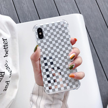 Luxury lattice glass phone case For the iPhone X XS XR XsMax 8 7Plus 6 6S Plus Back Cover For iphone 7 Cover For iphone 7 case