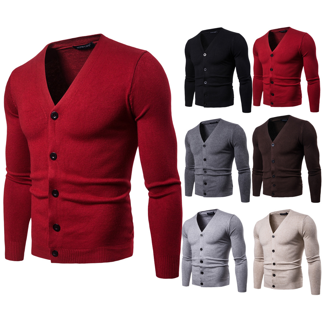 YM011 New Fashion Spring&Autumn Clothing Men Pure Knit Slim Long Sleeve V - Neck Knitted Cardigan Sweater