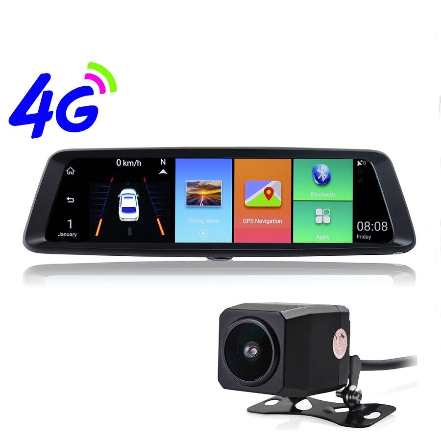 Udricare 10 pouce 4G Android WiFi Bluetooth ADAS GPS Navigation Streaming Vidéo Enregistreur 1080 P Double Lentille DVR Vue Arrière de Miroir GPS