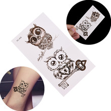 2pcs/set Waterproof Owl Body Art Sexy Harajuku Temporary Tattoo For Man Woman Henna Fake Flash Dispoable Tattoo Decal Stickers(China)