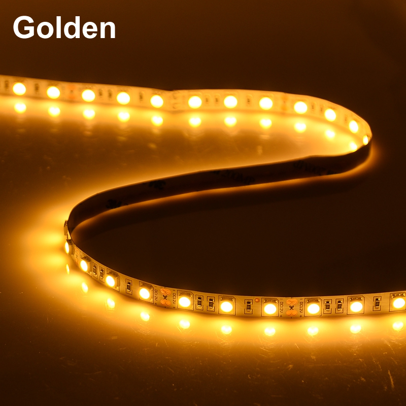 5050 SMD Golden Led Strip Light 60Leds/M DC 12V Non /ip65 Waterproof Kitchen Cabinet Counter LED Tape Golden lamp