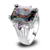 Fashion Rings Jewelry Multi Color Mysterious 925 Silver Ring Rainbow Topaz Gift For Women Size 7 8 9 10 Wholesale Free Shipping