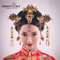 Retro Chinese Traditional Wedding Hair Jewelry Adorn Chinese Ancient Wedding Hairpins Hair Accessories