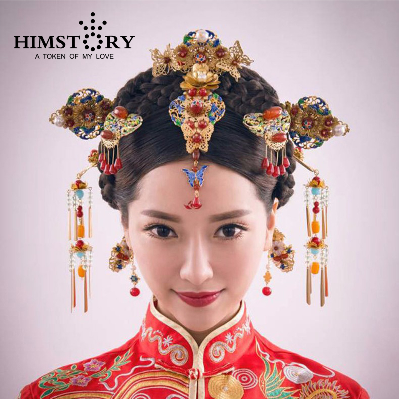 HOMSTORY Retro Chinese Traditional Wedding Hair Jewelry Adorn Chinese Ancient Wedding Hairpins Hair Accessories 03 red gold bride wedding hair tiaras ancient chinese empress hat bride hair piece