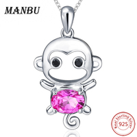 MANBU 925 Sterling Silver Chain Pendant Necklace Fashion Jewelry Red CZ Lovely Monkey Necklaces Pendants For