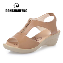 DONGNANFENG Women Old Mother Laides Female Sandals Shoes Cow Genuine Leather PU Beach Summer Cool Zipper Size 35 43 PGP 1153