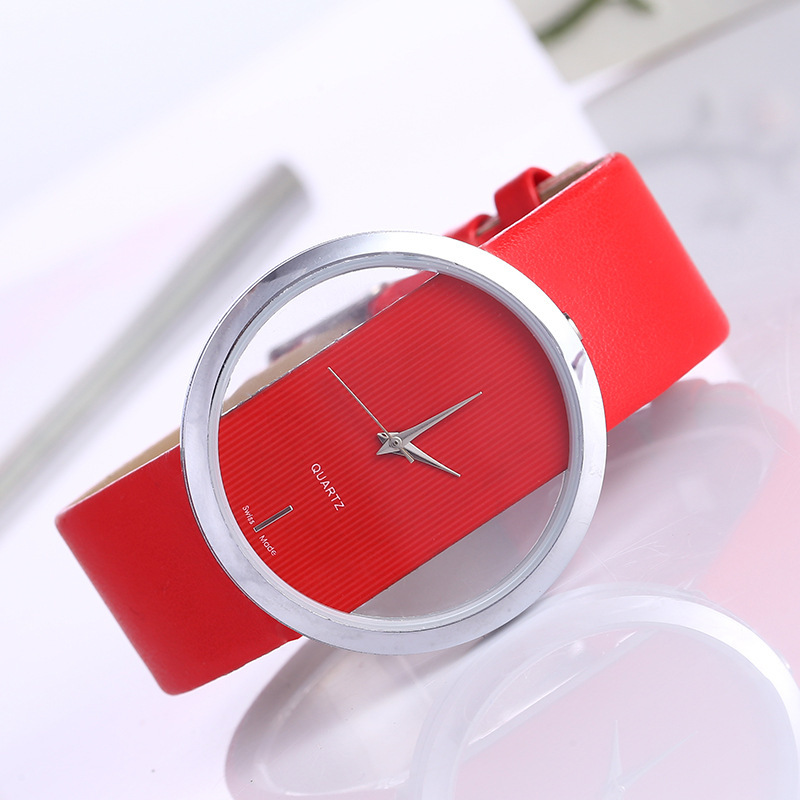 Women Transparent Dial Watches Creative Design Hollow Out Watch Red Leather Quartz Wristwatch relogio feminin Fashion Gift Clock