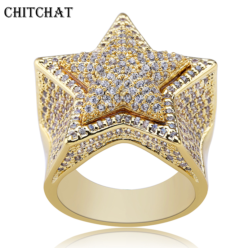 Pave Cubic Zircon Pentagram CZ Ring Gold Silver Copper Star Ring For Women Mens Hip Hop Jewelry Drop Shipping