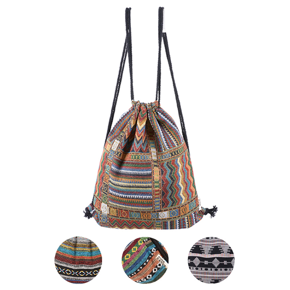Women Vintage Backpack Gypsy Bohemian Boho Chic Hippie Aztec Folk Tribal Woven String Bolsas sac a main Drawstring Rucksack Bag 2016 women vintage shoulder bag retro patchwork hippie gypsy boho tribal front pockets small mini crossbody hipster storage bag