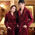 Autumn and winter thickening coral fleece lovers robe sleepwear female lounge male ultra long flannel bathrobe