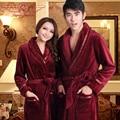 Outono e inverno espessamento coral amantes de lã sleepwear robe feminino roupão de flanela lounge macho ultra longa