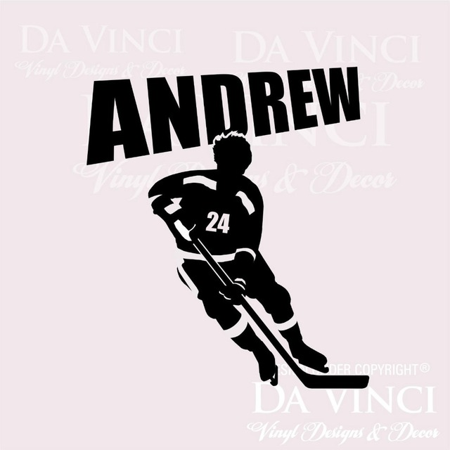Ice Hockey Player Wall Room Personalized Custom Name Vinyl Wall Decal Sticker