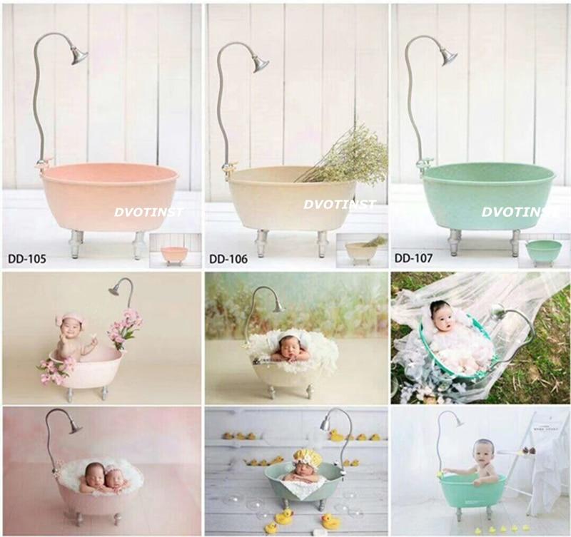 Dvotinst Newborn Photography Props Iron Bathtub Shower Bucket for Baby Photo Shooting Fotografia Accessory Infantil Studio Props