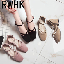 RWHK Korean version of the female Baotou single shoes female spring 2019 new square head with retro single shoes women B270 2018 spring and summer new ultra light polyurethane at the end of hand stitched fish head embroidered shoes women s single shoes