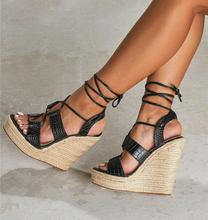Sexy Black Snake Print Leather Women Wedge Sandals Peep Toe Lace-up Cross Strap Weave Braid Summer Dress Shoes Cut-out Platform summer fashion blue jeans cut out sandals peep toe height increasing wedge summer denim dress shoes woman for women size 34