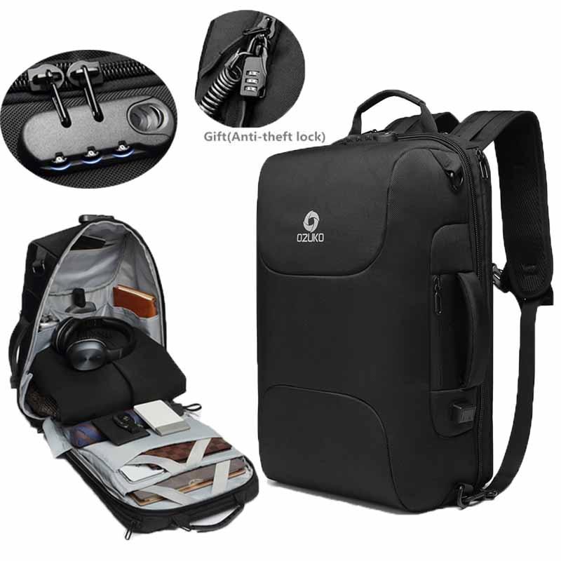 OZUKO New Anti-thief Men Backpack Multifunctional Waterproof 15.6 inch Laptop Bag Backpack USB Charging Mochila Travel Bag ManOZUKO New Anti-thief Men Backpack Multifunctional Waterproof 15.6 inch Laptop Bag Backpack USB Charging Mochila Travel Bag Man