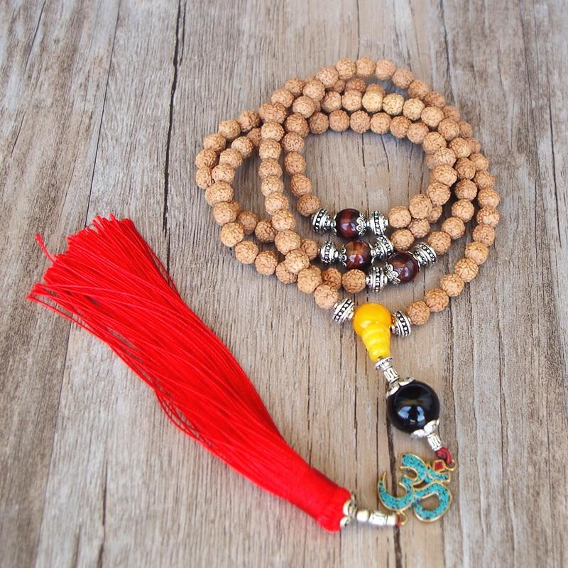 108 Beads 8mm Rudraksha Om Tassels Pendant Necklace Handmade Tibetan Buddhism Yoga Healing Mala Necklace Jewelry Aromatic Character And Agreeable Taste