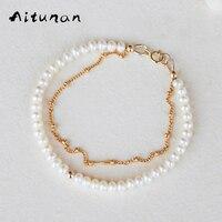Aitunan Handmade Fashion Mini Natürlichen Süßwasser-perle Gold Farbe Perlen Kette Doppel Armbänder Für Frau Bangles Für Mädchen Geschenk