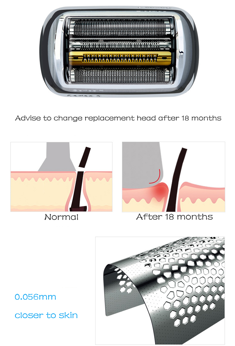 Braun cabeça de barbeador elétrico, lâmina de