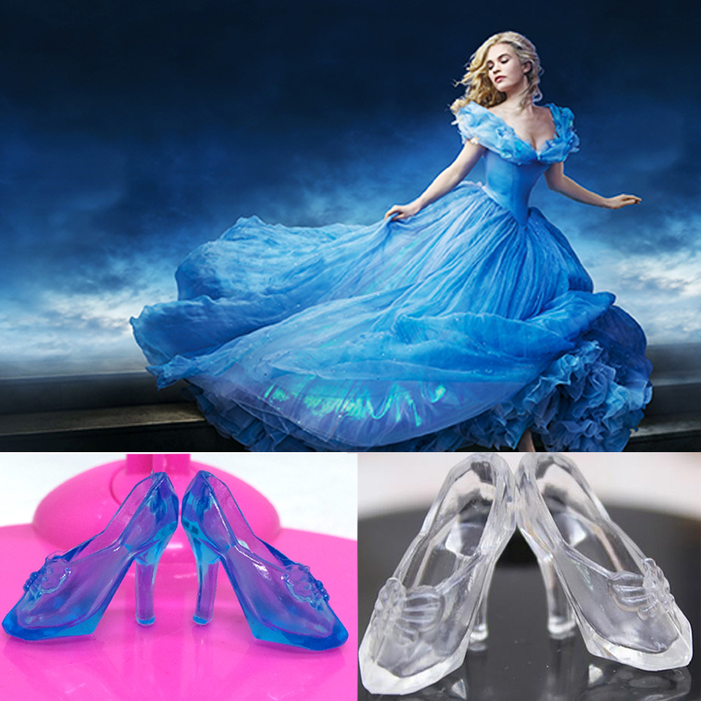 NK New 10 Pairs Crystal Shoes For Barbie  Doll Cinderella Doll Accessories 2 Colors Best Gift