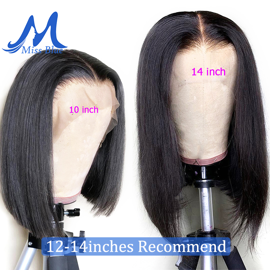 MissBlue Short Lace Front Human Hair Wig Bob Wig Full and Thick For Black Women Natural