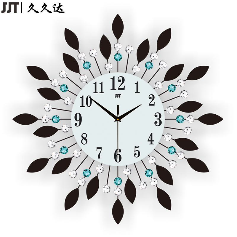 JJT Luxury Diamond Large Wall Clocks Crystal Glass Metal Wall Clock For Living Room Decoration