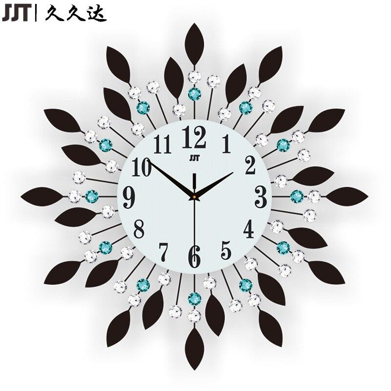 JJT luxe diamant grandes horloges murales cristal verre métal horloge murale pour décoration de salon