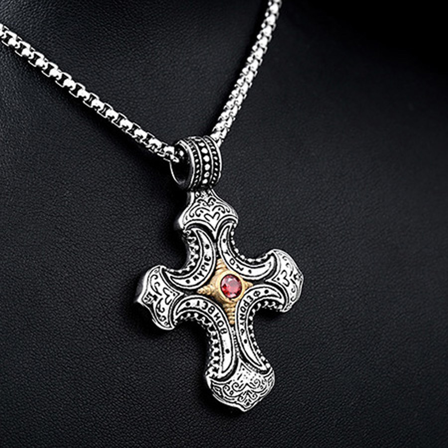 Stainless Steel Necklace Retro Jewelry Zircon Carved Cross Pendant Jewelry for Gifts