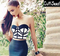 Sexy Strapless Corset Camis Tees Clothes Female Striped Bandage Short Tanks Tops Lady Party Clothes