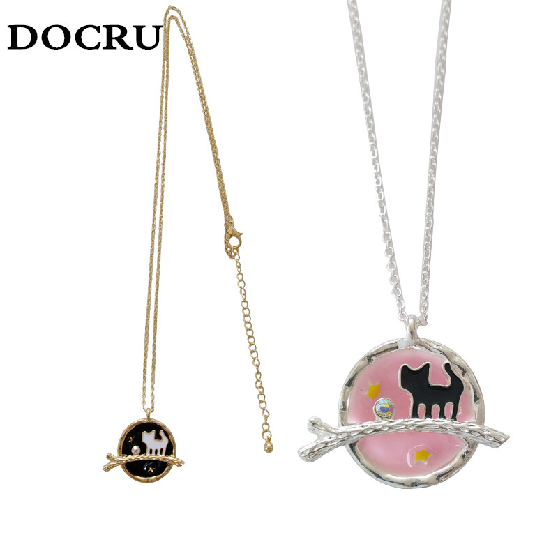 free shipping fashion women New Jewelry wholesale  Starry Cosmic Earth Kitten Necklace