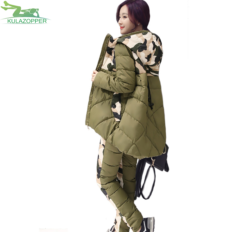 women set 2017 winter parka new fashion thick hooded cotton padded jacket loose warm outwear suit two sets for female Q586
